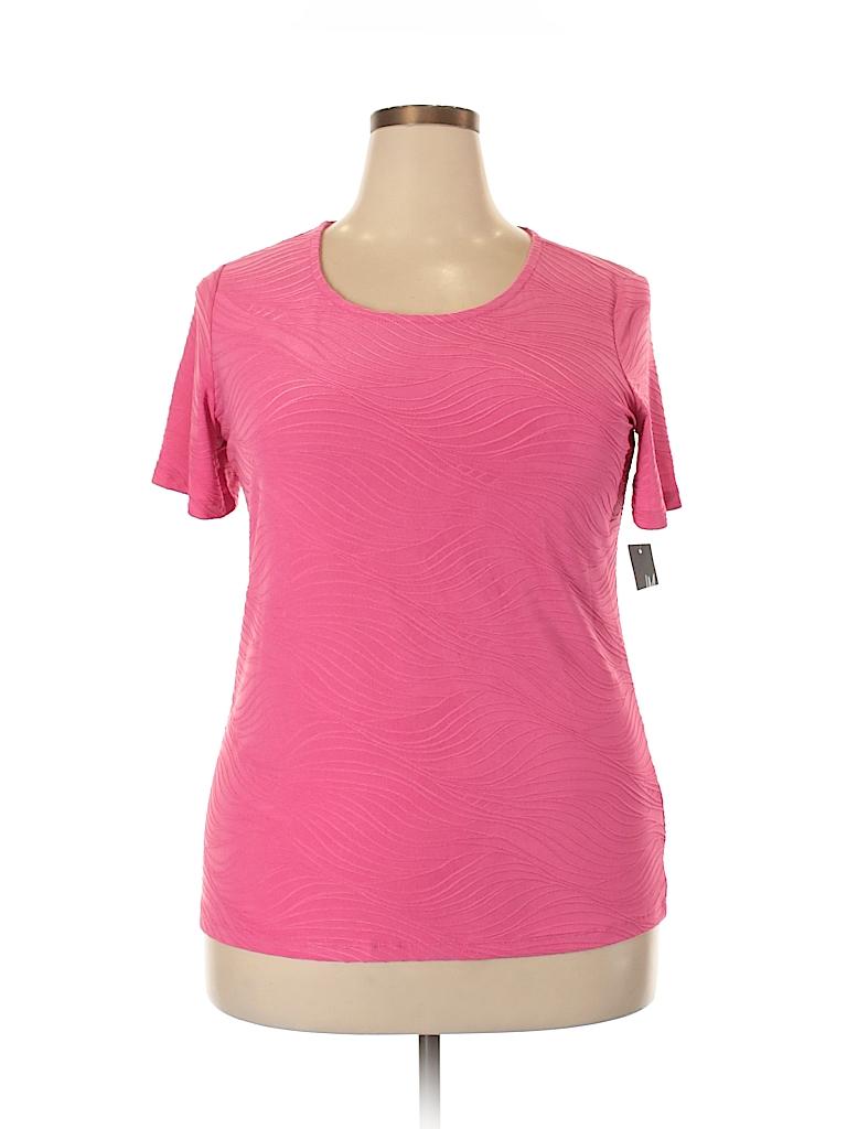 JM Collection Women Short Sleeve Top Size 0X (Plus)