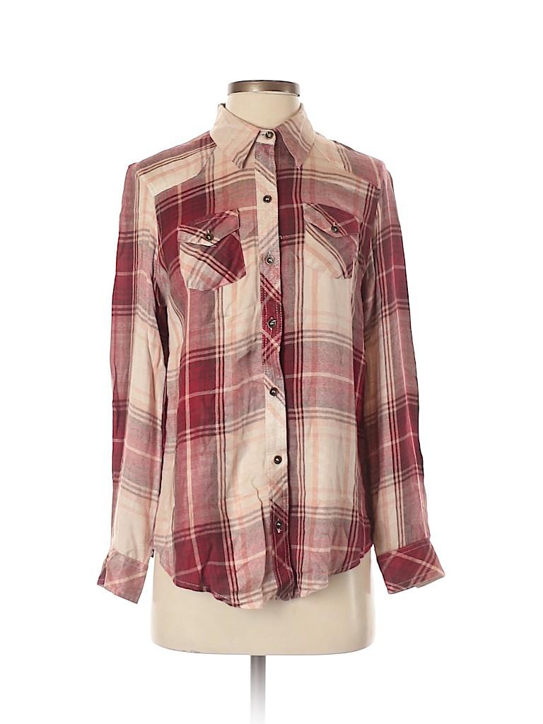 Angie Women Long Sleeve Button-Down Shirt Size S