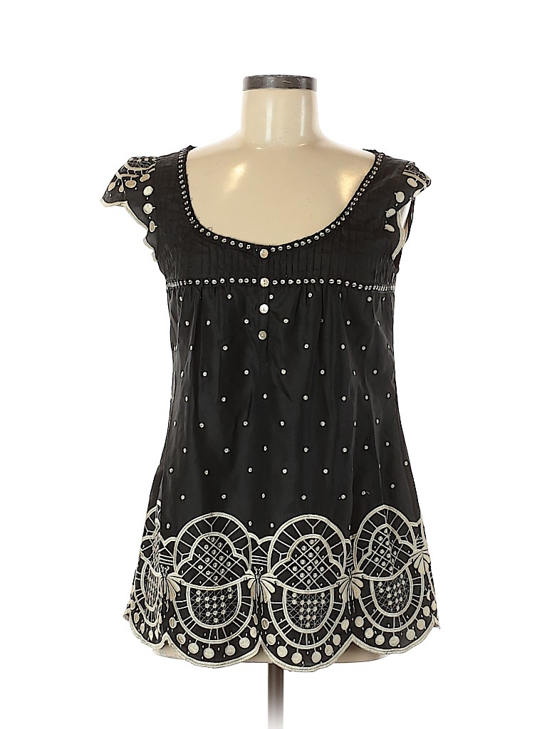 Yoana Baraschi Women Short Sleeve Silk Top Size 6