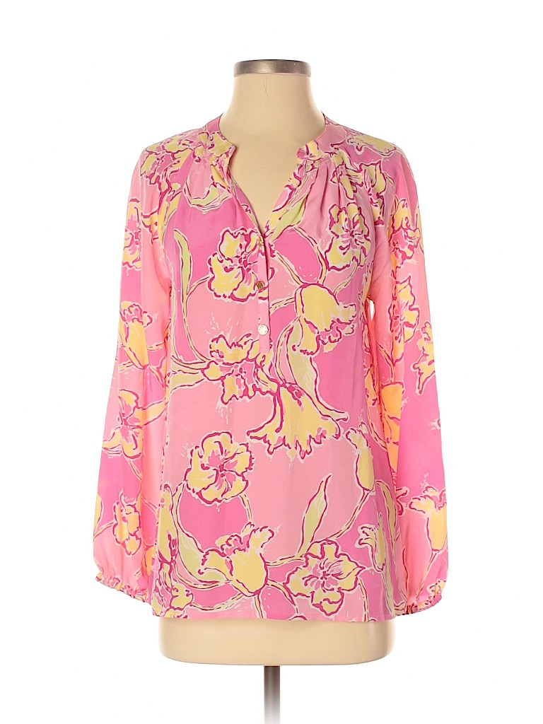 Lilly Pulitzer Women Long Sleeve Silk Top Size S