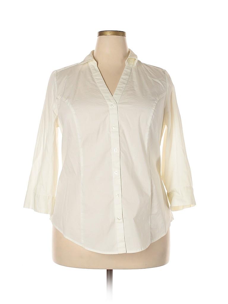 Lane Bryant Women 3/4 Sleeve Button-Down Shirt Size 18 (Plus)