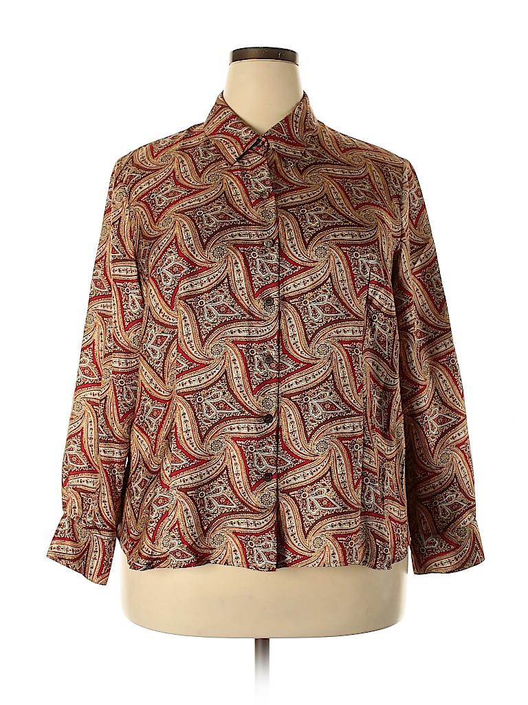 Talbots Women Long Sleeve Silk Top Size 18 (Plus)