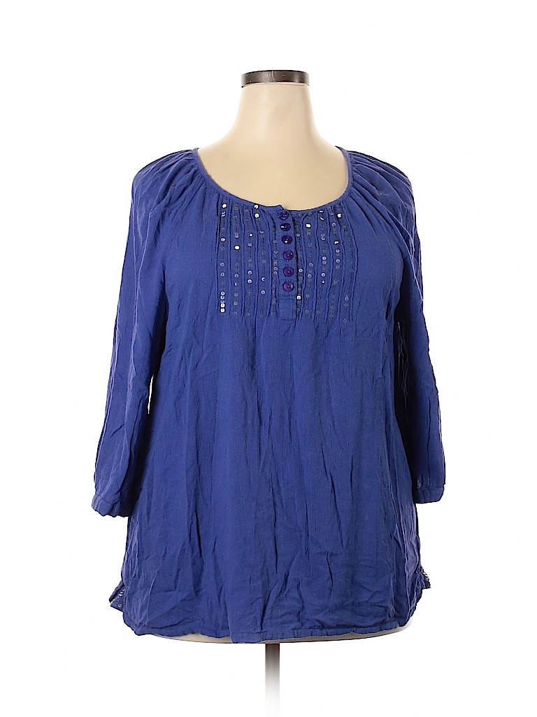 Catherinegee Women 3/4 Sleeve Blouse Size 1X (Plus)