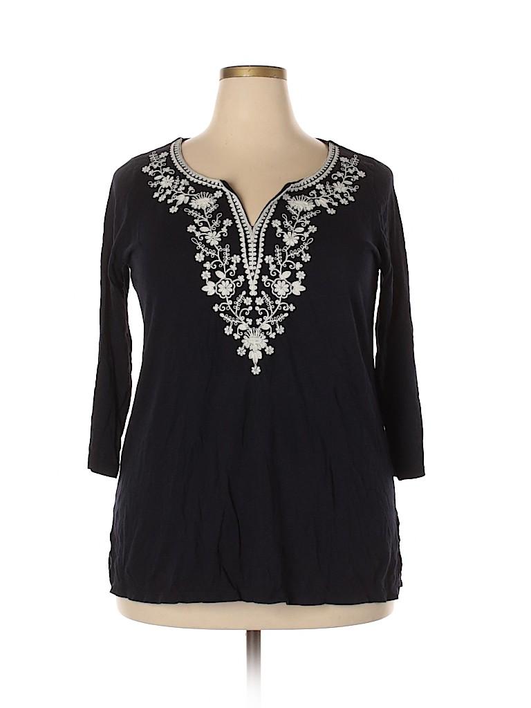 Talbots Women 3/4 Sleeve Top Size 1X (Plus)